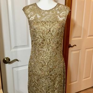 KAY UNGER Gold Beaded Formal Dress